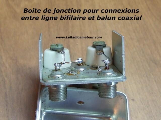 Boite de jonction entre ligne bifilaire et câble coaxial servant à protéger les connexions des intempéries. Vue intérieure.