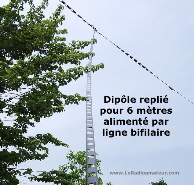 Photo d'un dipôle replié pour 6 m avec ligne d'alimentation bifilaire (ladder line).