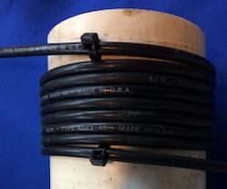 Bobine d'étranglement (RF choke) faite avec un câble coaxial RG8-X.